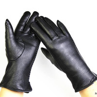 Deerskin Gloves Female Fashion Side Lace Style Leather Gloves Velvet Lining Warm Autumn And Winter Free