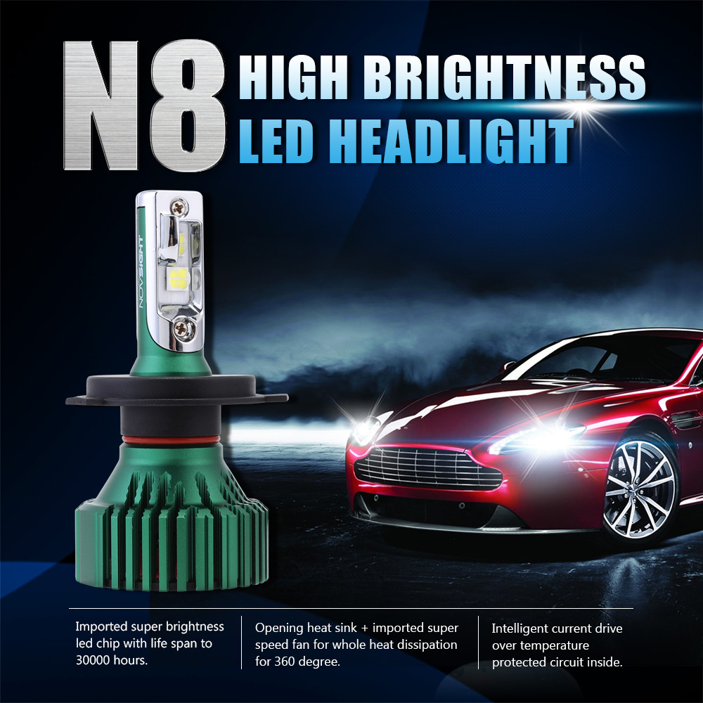 Image 2 - NOVSIGHT H4 LED H7 H11 Car Led Headlights 60W 16000LM H8 H9 9005 9006 Driving Fog Light Bulbs Play and Pluy Fog Lamps 6500K-in Car Headlight Bulbs(LED) from Automobiles & Motorcycles