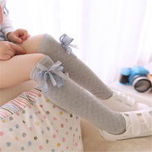Newborn Toddler Knee High Socks Baby Girls Bow Sock Leg Warmer 4 Solid Colors Kids Toddler Baby Girl Clothes Accessories(China)