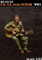 Modelos em escala 1/35 G.I. DOS EUA com a Guitarra descolorem SEGUNDA GUERRA MUNDIAL WW2 incluem 1 figura Resina Modelo Frete Grátis