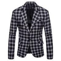 Fall 2019 blazer men's fashion suit jacket single button suit high quality men's plaid jacket jacket men's suit