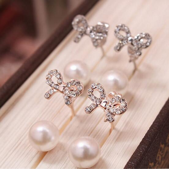 ea410 Korean exquisite fashion simple earrings crystal alloy bow imitation pearl earrings female charm jewelry 2019