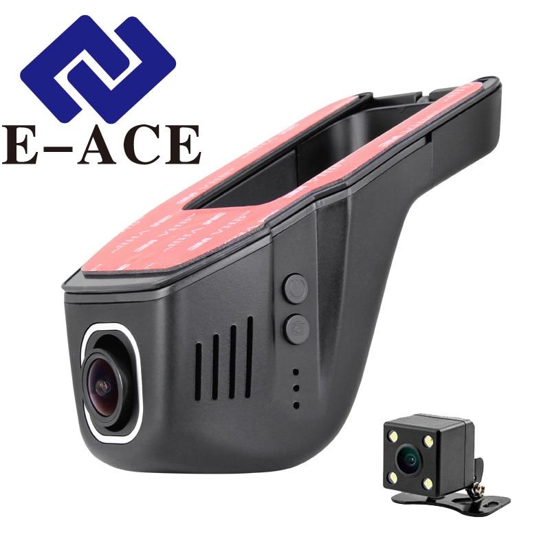 E-ACE Mini Macchina Fotografica di Wifi Dual Lens Auto Video Registratore Auto Registrator Dashcam wifi Videocamera per auto Full HD 1080 p Videocamera 170 ''DVR