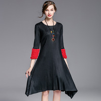 Bubble Sleeve New 2017 Fall Pleated Dress Collar Round Neck Seven Minute Sleeve Fold Skirt Wholesale