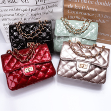 MAIDUDU Patent Leather Solid Color Ling Plaid Chain Women Shoulder Bags Small Hasp 2018 Simple Flap Crossbody Handbag For Ladies