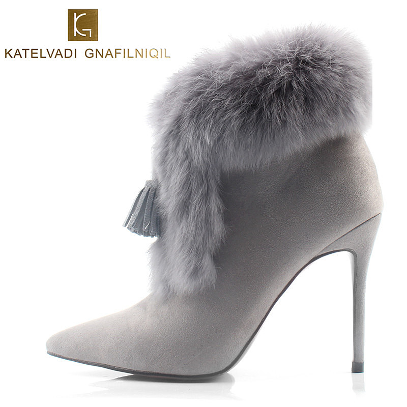Real Rabbit Hair Women Ankle Boots High Heels Pointed Toe Winter Boots With Fur Gray Shoes Woman Winter Snow Boots Women K-076 black ankle boots women high heels pointed toe sexy snow boots woman shoes rivets winter women boots with fur botas mujer b 0197