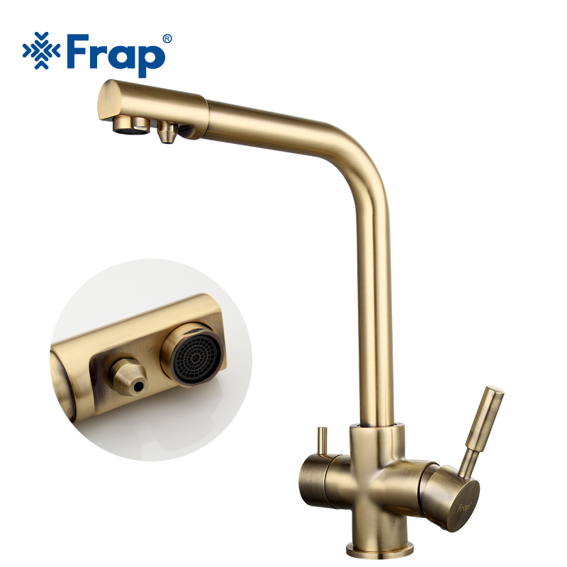 Frap Bronze antique tall Kitchen sink Faucet drinking water tap mixer with Water Purification Features Double