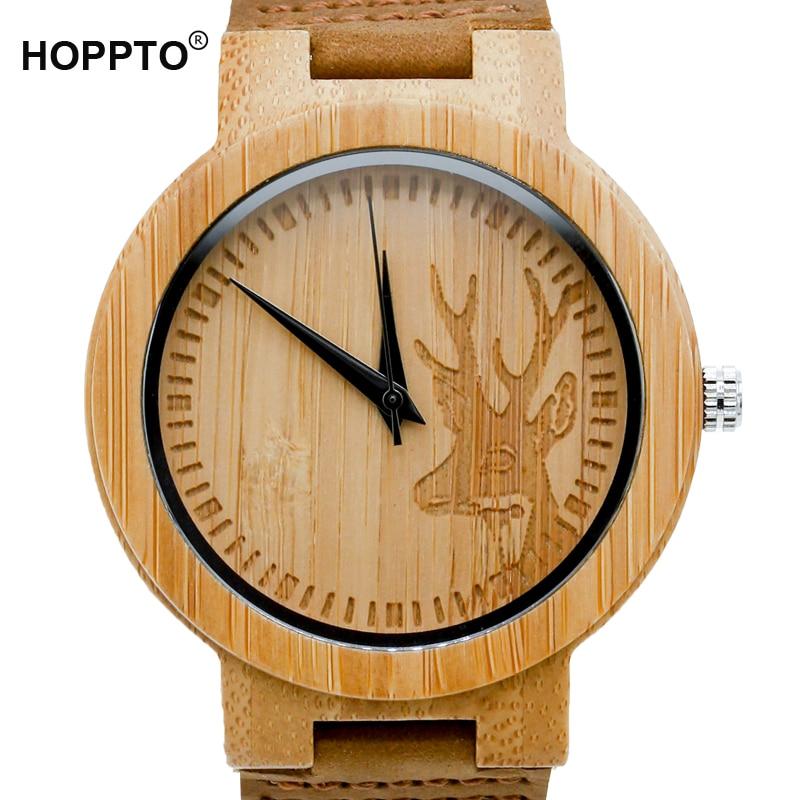 HOPPTO Brand 2017 Deer Head Design Mens Women s Size Bamboo Wooden Watches Luxury Wooden Quartz