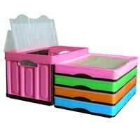 56l 사무용 책상 주방 수납 용품 대형 플라스틱 접이식 보관 바구니 용기 상자 및 커버 완구 용 상자