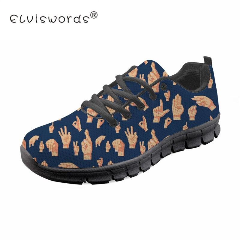 ASL main signe PrintCasual chaussures plates pour homme laçage Sneaker léger respirant appartements loisirs Air maille chaussures de marche