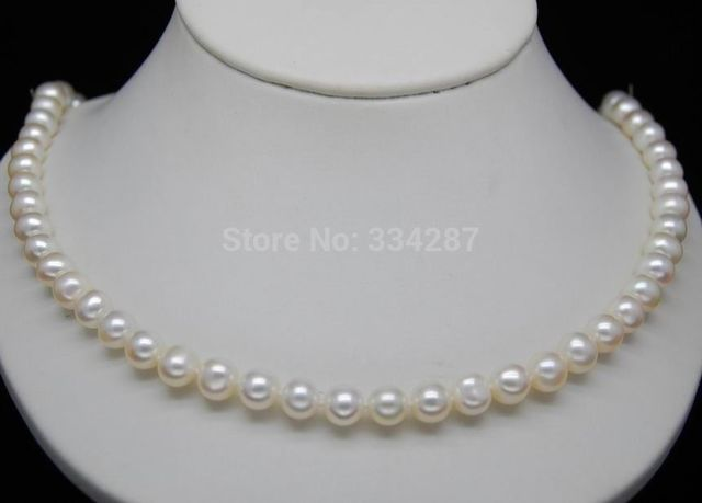 "100% Selling Picture full Fine 5-6mm AAA+ white pearl 925S necklaces 18""Long"