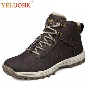 39-46 мужские ботинки плюшевые теплые зимние мужские ботинки Большие размеры Нескользящие зимние ботинки мужские черные коричневые безопасн...