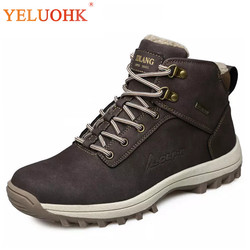39-46 Men Boots Plush Warm Winter Men Shoes Big Size Anti skidding Winter Shoes Men Black Brown Safety Shoes 2018