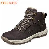 39 46 Men Boots Plush Warm Winter Men Shoes Big Size Anti skidding Winter Shoes Men Black Brown Safety Shoes 2018