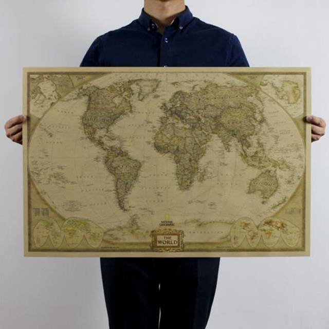 Large Size World Map Poster Vintage Style Kraft Paper Retro Poster Home  decoration 71* 46.5cm (28*18inch) , Map Of The World