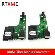 10 par 100M optyczny konwerter światłowodowy Transceiver pojedynczy konwerter światłowodowy 25km SC 10/100M jednomodowy pojedynczy światłowód PCBA