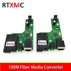 10Pairs 100M Optical Fiber Media Converter Fiber Transceiver Single Fiber Converter 25km SC 10/100M Singlemode Single Fiber PCBA(China)