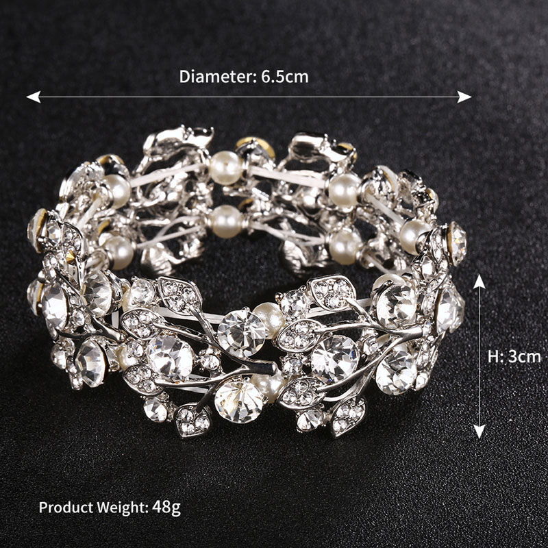 SLBRIDAL Trendy Charm Stretch Crystal Rhinestones Pearls Leaf Fashion Women Bracelet Girls Bracelet Bridal Wedding Bracelet in Charm Bracelets from Jewelry Accessories