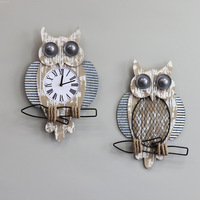 Northern Europe retro clock (wall) hanging horologe owl Ornaments wall facing house and home child The bedroom the clock