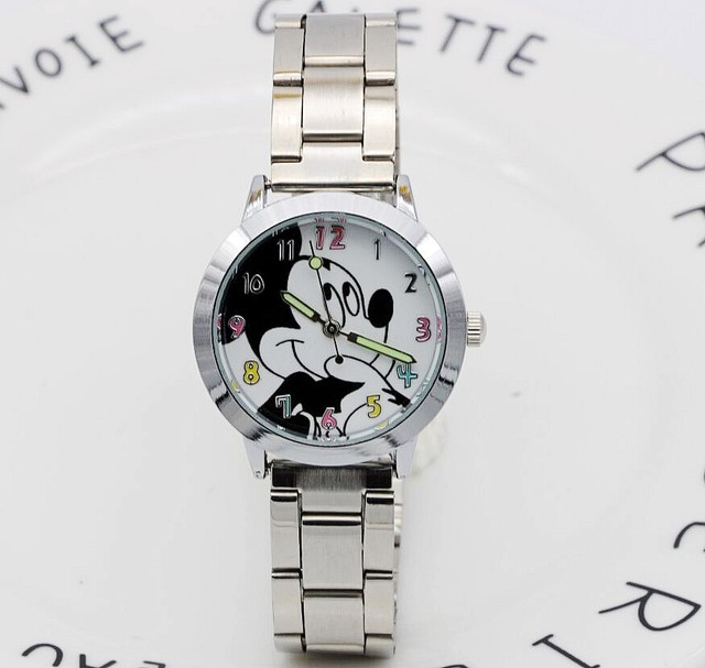 Cartoon Beautiful girl Fashion quartz Mickey wrist watches women causal rhinesto