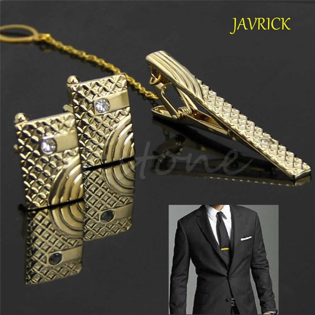 b9c834e787 JAVRICK New Gift Men Metal Necktie Tie Bar Clasp Clip Cufflinks Sets Gold  Simple ZB380