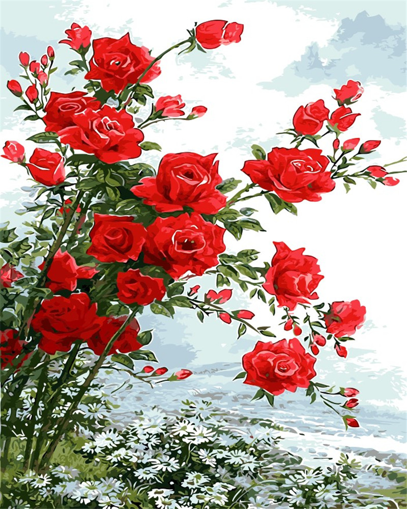 Red rose flowers picture DIY digital oil painting flower home decor wall art wedding room ...