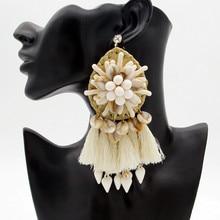 FishSheep Statement Bohemian Big Fringed Tassel Drop Earrings For Women Handmade Boho Ethnic Shell Beads Dangle Earrings Brincos