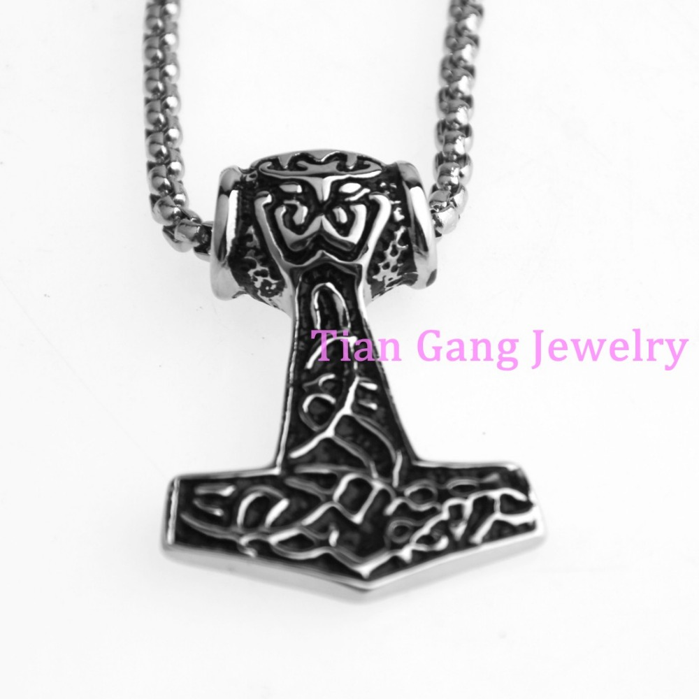 Fashion Charming Men Womens Mini Thors Hammer Viking Amulet Mjolnir Stainless Steel Pendant Chain Necklace