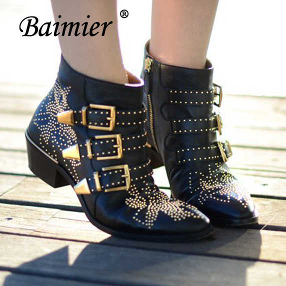 Baimier Gold Silver Buckle Rivet Ankle Boots For Women Genuine Leather Women Boots Fashion Round Toe Punk Motorcycle Boots Women