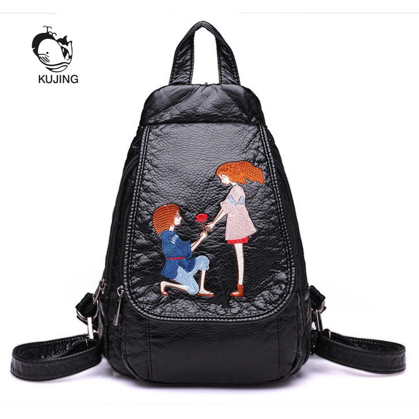 KUJING Brand Fashion Backpack High Quality Embroidered Woman Backpack Hot Couple Backpack Cheap Black Woman Casual
