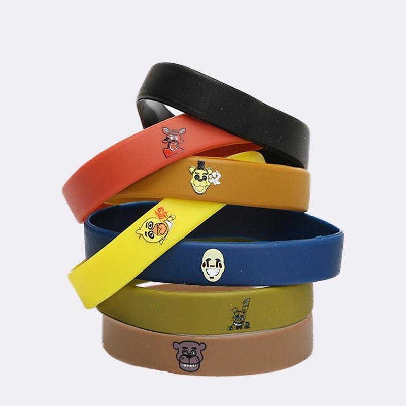 7pcs FNAF Wristband Five Nights At Freddy's Silicone Bracelet Freddy Fazbear Chica Bonnie Mangle Foxy Pulsera De Silicona