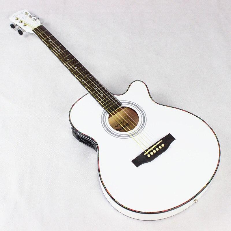 Thin Body Electro Acoustic Electric Folk Pop Flattop Guitar 40 Inch Guitarra 6 String White Light