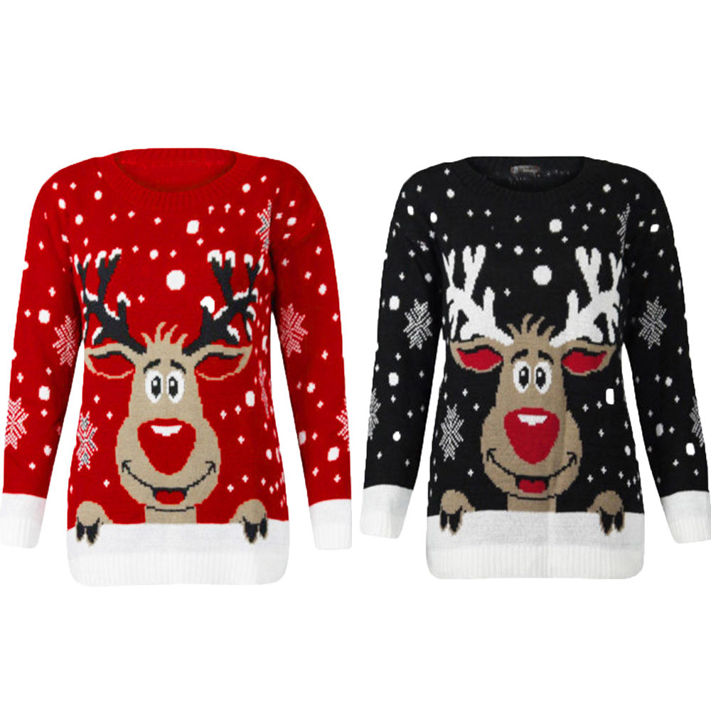 bc955c8deaafa New Arrived Women Christmas Deer Warm Knitted Long Sleeve Sweater Jumper  Top O-Neck Casual