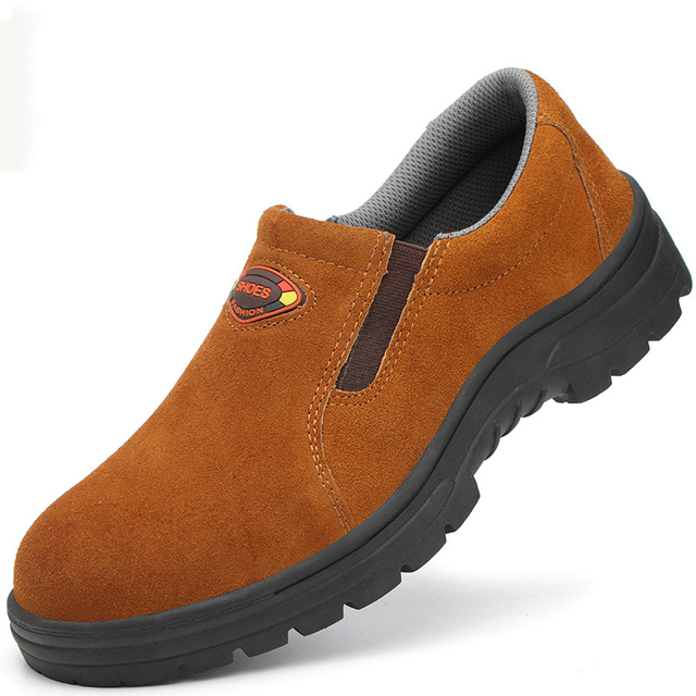 Steel Toe breathable work shoes men leather light Safety boots men anti-smashing steel head work boots Casual Boots Men