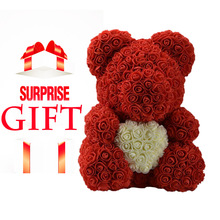 DropShipping 40cm Red Teddy Rose Bear With Love Heart Artificial Flower  Decoration Valentines Day Gift Womens Mother