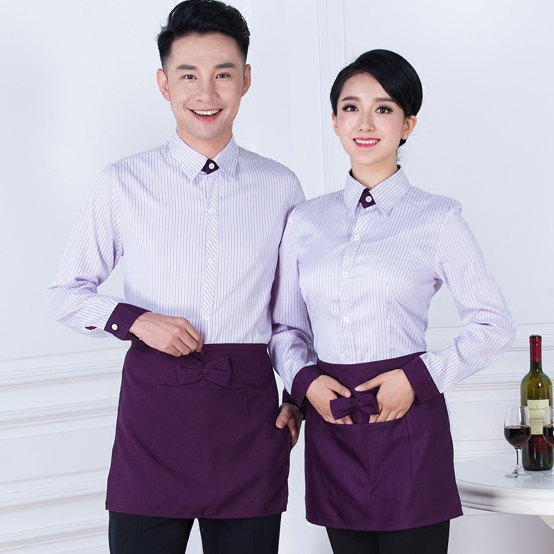 Hotel Uniform Work Clothes Uniforms Long Sleeved For Restaurant Autumn Winter Waiter Waitress Work Overalls J046