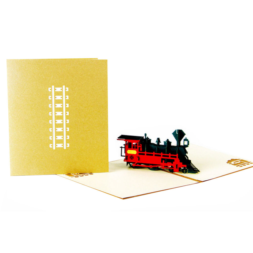 Funny Vintage Train 3D Greeting Card Fantastic Three-dimensional Universal Used Pop Up postCard For Festival Greetings GF350