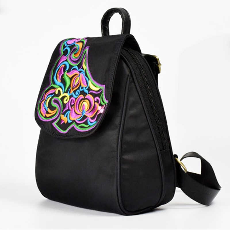 f6ecc65b4bd3 Китайский цветочной вышивкой Малый Для женщин рюкзак Оксфорд Материал мини  Водонепроницаемый леди Рюкзаки Элегантный женский Девушка