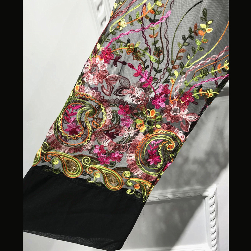 Plus Size Long Shirt Women Kimono Plage Mujer 2020 Boho Floral Embroidery Chiffon Mesh Blouse Cardigan