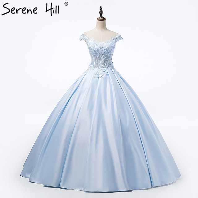 91f7090f0e9 Hot Sale Blue Appliques Satin Wedding Dress Tiffany Blue Beading Taffeta  Bridal Ball Gown Dress 2019 Vestido De Noiva HA2055