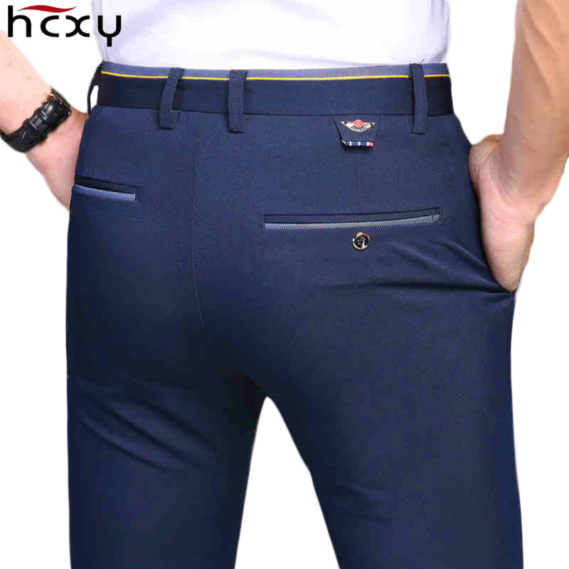 HCXY 2019 New Design Spring Summer Men's Smart Casual Pants Slim Pant Straight Trousers Thin Smooth Stretch Business Men Size 38