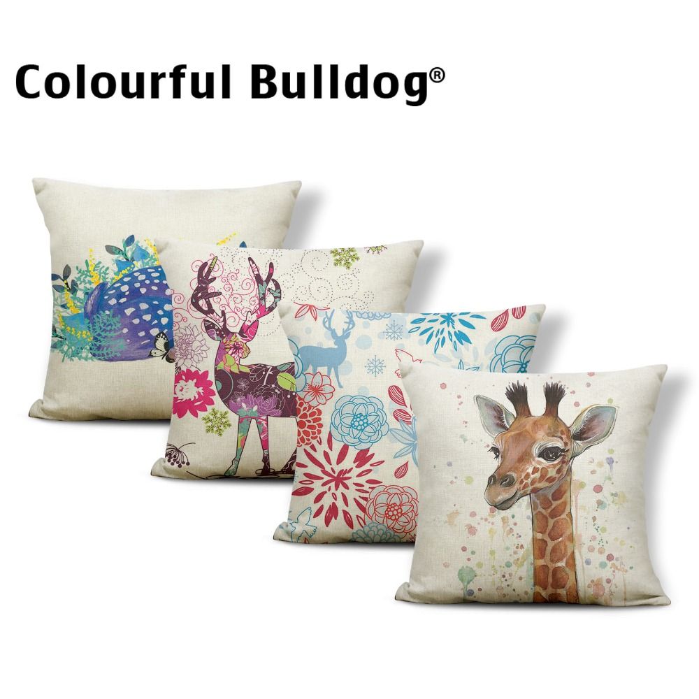 Animal Deer Cushion Giraffe Pillow Case Chrysanthemum Rustic Country Bookcase Home Accessories Throw Pillow Cover 43X43Cm Linen
