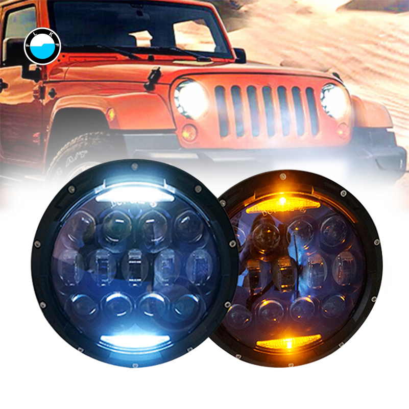 Blue Projector Lens 130W 7 inch LED Headlights for Jeep Wrangler JK LJ JKU 7inch LED Headlight with white DRL/Amber Signal. 4pcs black led front fender flares turn signal light car led side marker lamp for jeep wrangler jk 2007 2015 amber accessories
