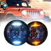 Blue Projector Lens 130W 7 Inch LED Headlights For Jeep Wrangler JK LJ JKU With White
