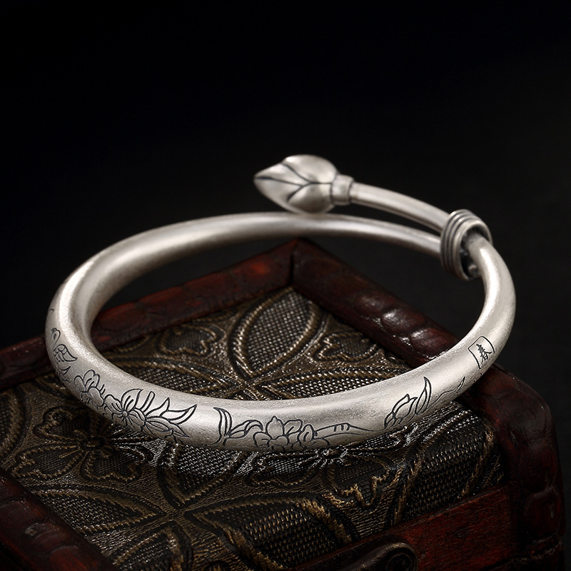 LuYin S999 fine silver restoring ancient ways do old lotus flowers and ms push-pull sterling silver bracelet wholesale ornament punk wind restoring ancient ways do old crusades flowers bag buckles 925 sterling silver jewelry wholesale
