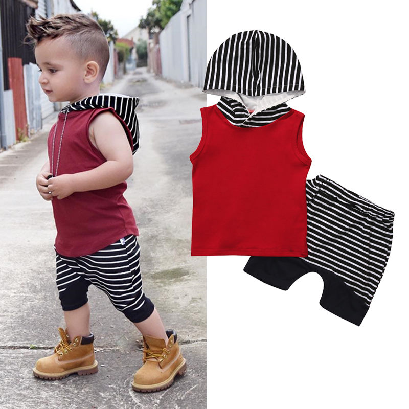 2020 Summer Baby Boy Clothes Sleeveless Hooded Tops +Striped Shorts Pant 2PCS Outfits Toddler Kids Clothing Set