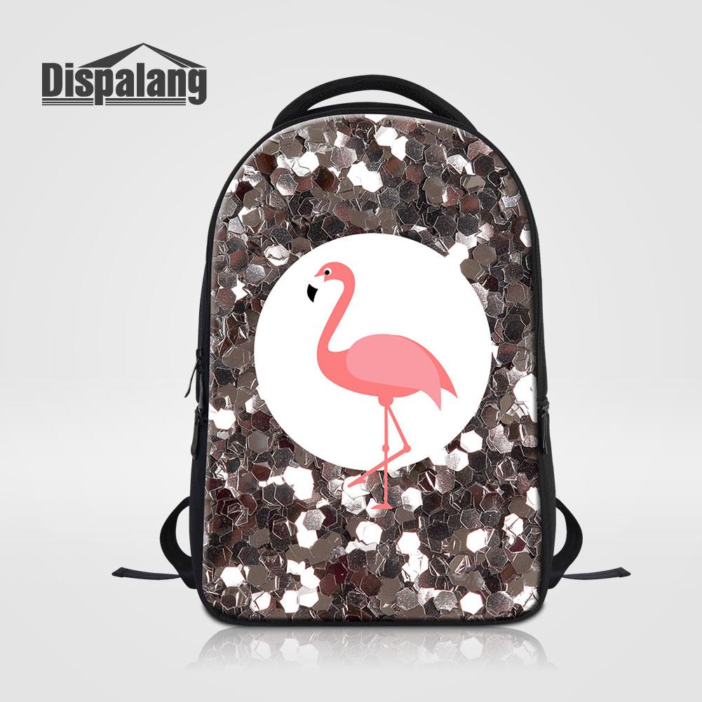 Dispalang Brand Laptop Backpack Flamingo Pattern Multifuncti
