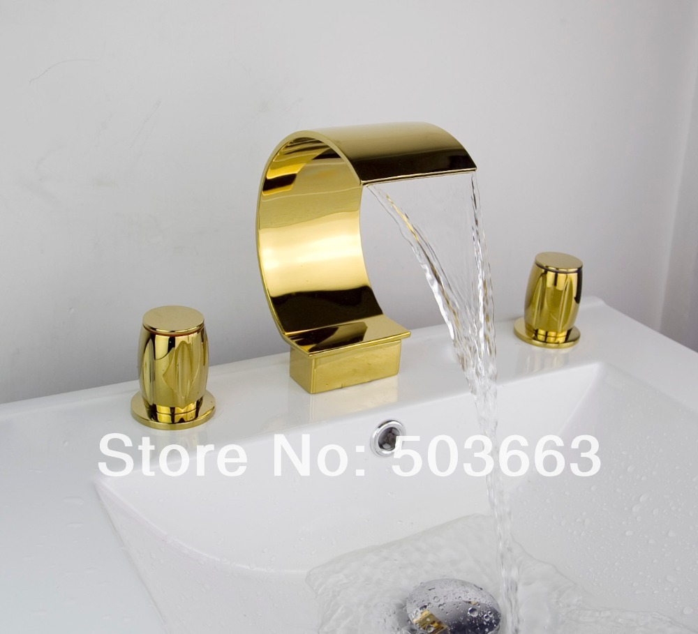 High Quality Great Waterfall 3 Pieces 2 Lever Bathroom Bathtub Basin Sink Golden Faucet Vanity Mixer Tap Deck Mount MF-614 luxury great waterfall wall mounted bathroom basin sink bathtub polished chrome double handles mixer tap faucet mf 828