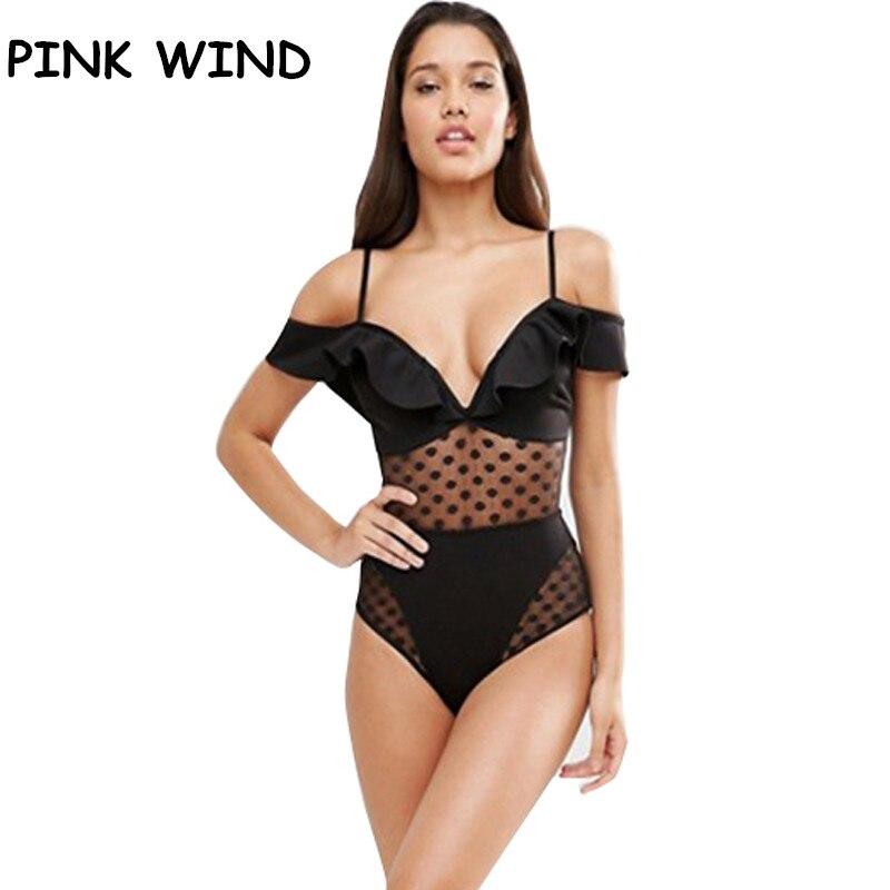 814fa9d2730 Aliexpress.com   Buy PINK WIND 2017 Women s Black Lace Transparent Off  Shoulder One Piece