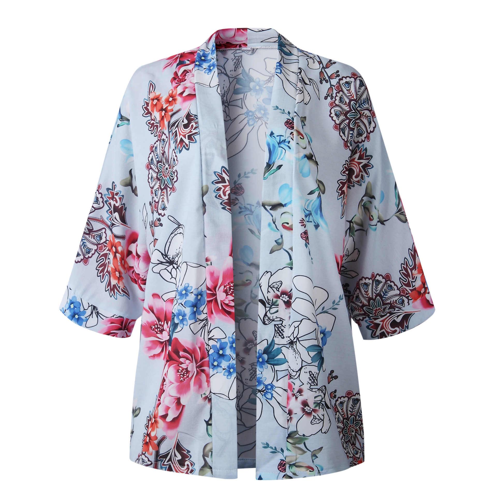 קיץ נשים חולצות אופנה פרחוני מודפס שיפון חולצה חולצה קימונו מזדמן 3/4 שרוול חוף קרדיגן Loose נשים בגדים